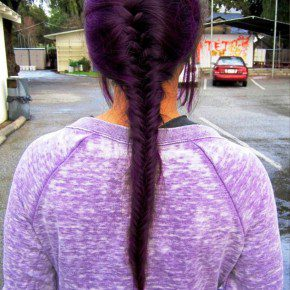 Back View Of French Fishtail Braid Purple Hair