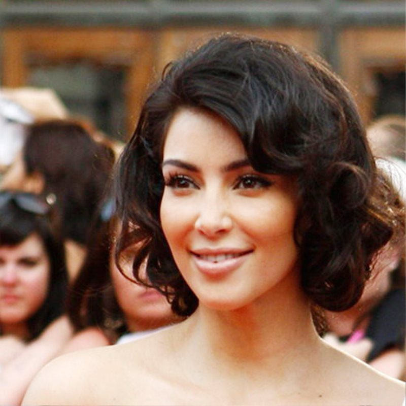 Curly Bob Hairstyle By Kim Kardashian Pictures