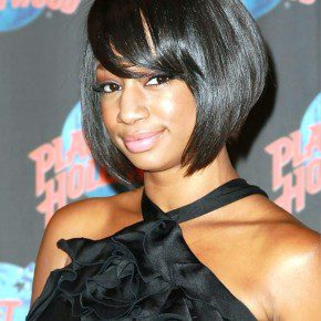 Monique Coleman Short Black Sleek Bob Hairstyle With Bangs For Black Women