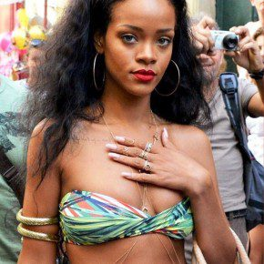 Rihanna Long Black Curly Hairstyle 2012