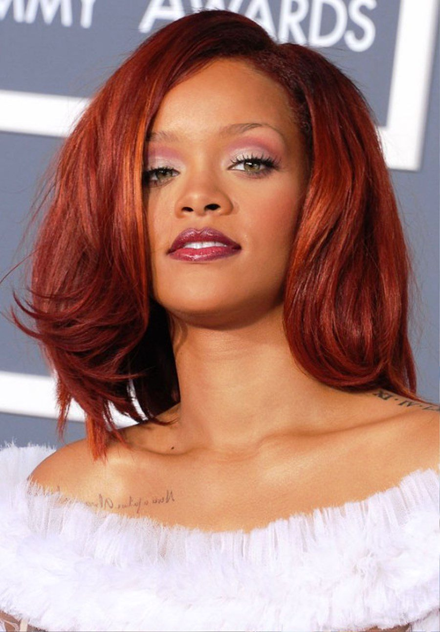Rihanna Medium Cherry Red Hairstyle Pictures