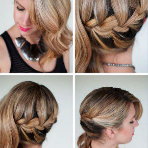 Side Swept French Braid Hairstyle For Wedding