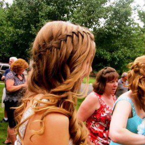 Waterfall Braid Hairstyle For Prom