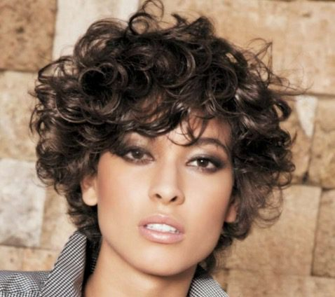 Short Hairstyle upcut curly