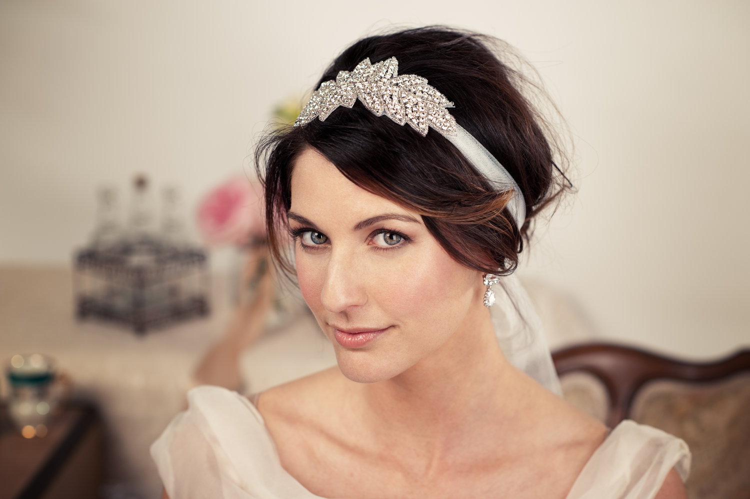 Long wedding hairstyles with headbands
