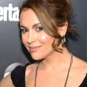 Alyssa Milano Loose Bun Updo With Long Curls