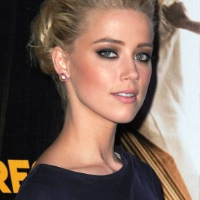 Amber Heard Casual Loose Bun Hairstyle