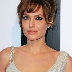 Angelina Jolie Loose Updo With Bangs