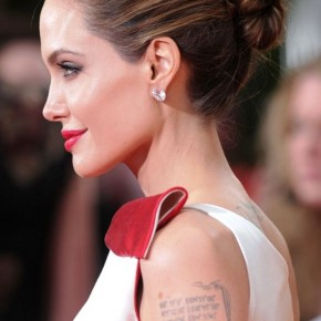 Angelina Jolie Sllek Bobby Pinned Updo For Long Hair