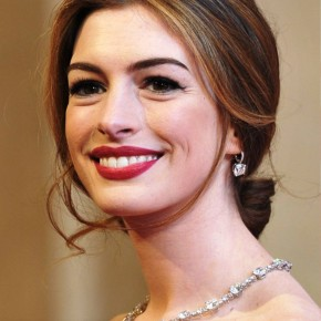 Anne Hathaway Center Part Loose Bun Updo