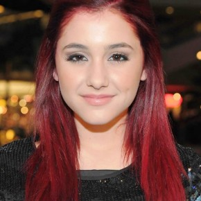 Ariana Grande Red Half Up Half Down Hairstyle For Straight Hair
