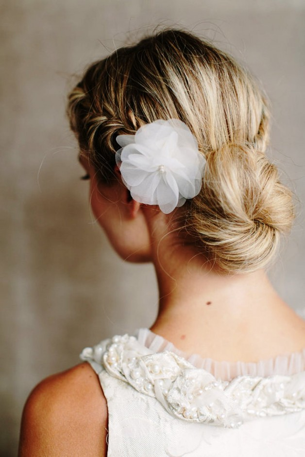 Back View Of Bridal Low Braided Bun Updo