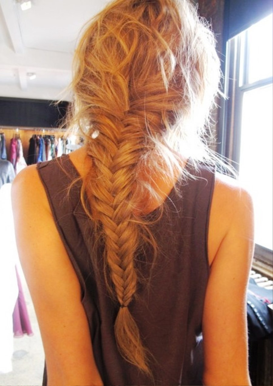Peachy Pictures Of Back View Of Fishtail Braid Hairstyle Hairstyle Inspiration Daily Dogsangcom