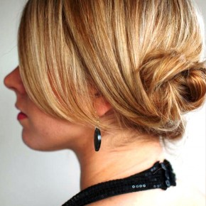 Back View Of Low Twisted Chignon