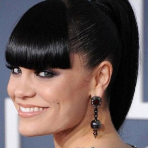 Black Hairstyles with Bangs Ponytail