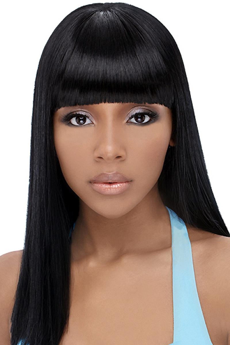 Pictures of Black Hairstyles with Weave and Bangs