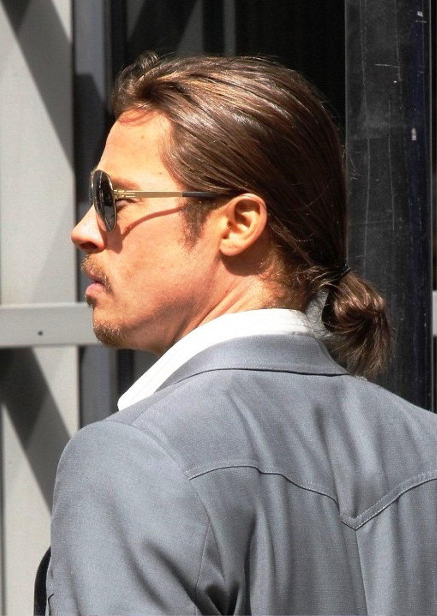 Brad Pitt Ponytail Hairstyle Pictures