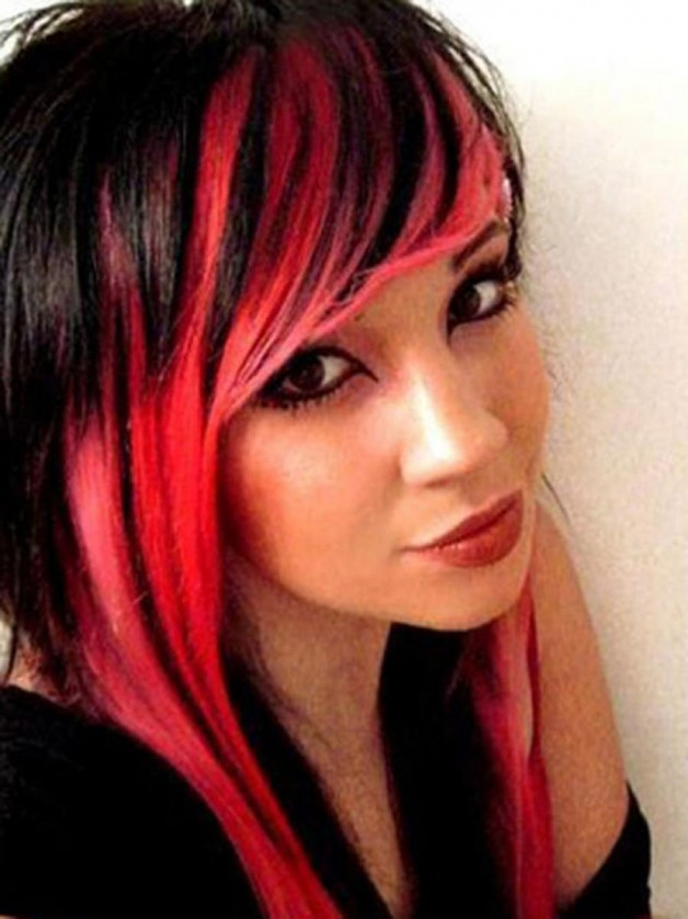 Bright Red and Black Hairstyles