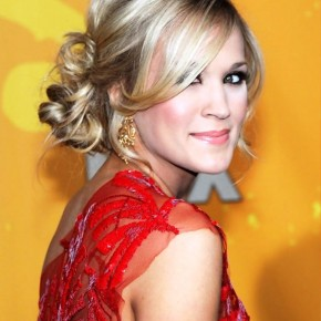 Carrie Underwood Loose Bun Updo Hairstyle