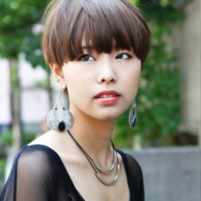 Casual Short Japanese Hairstyle With Blunt Bangs