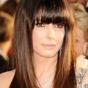Celebrity Long Sleek Hairstyle With Blunt Bangs
