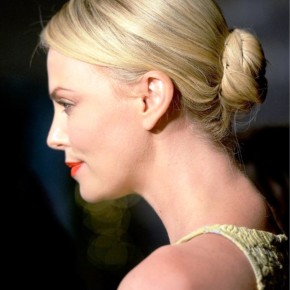 Charlize Theron Sleek Bun Updo For Long Hair