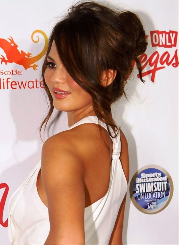 Chrissy Teigen Teased Messy Updo Hairstyle For Wedding