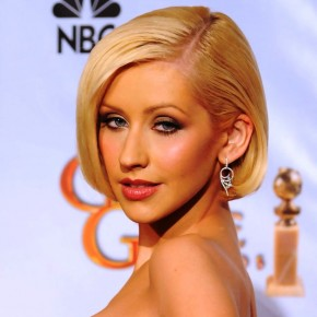 Christina Aguilera Short Straight Bob Haircut
