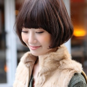Cute Asian Bob Hairstyle With Blunt Bangs