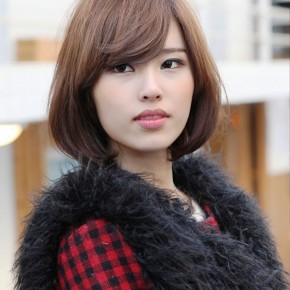 Cute Asian Bob With Side Swept Bangs