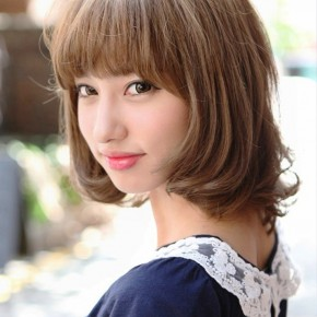 Cute Japanese Bob Hairstyle With Blunt Bangs