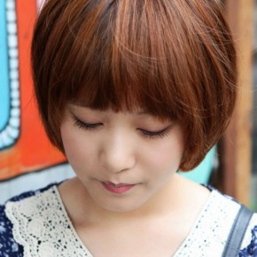Cute Korean Bob Hairstyle With Blunt Bangs