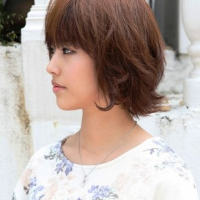 Cute Layered Short Brown Bob Hairstyle