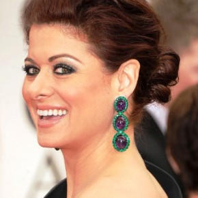 Debra Messing Loose Low Red Bun Updo