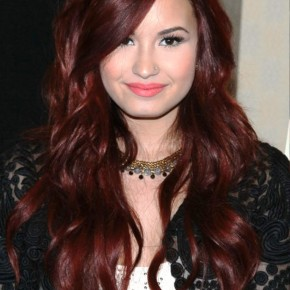Demi Lovato Long Wavy Red Hairstyle