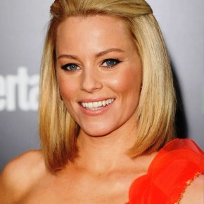 Elizabeth Banks Half Up Half Down Sleek Bob Hairstyle