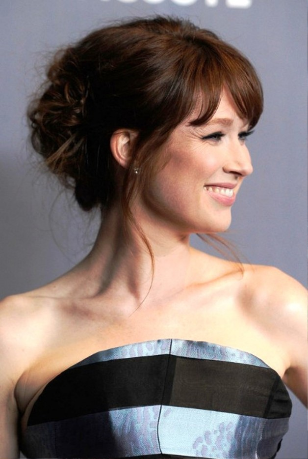 Ellie Kemper Cute Updo Hairstyle With Bangs