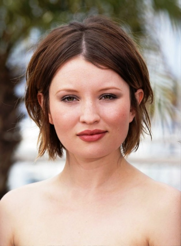 Emily Browning Center Parted Hairstyle