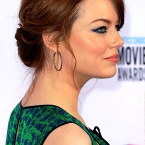 Emma Stone Romantic Twisted Updo With Pretty Loose Tendrils