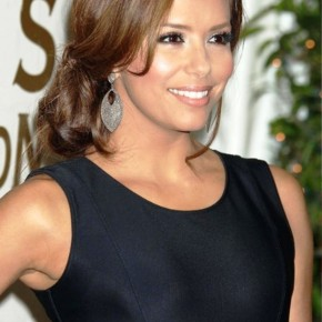 Eva Longoria Elegant Low Bun With Side Bangs