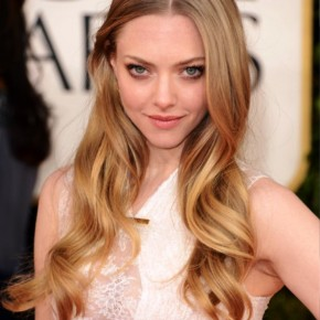 Golden Globe Awards 2013 Amanda Seyfried Center Parted Hairstyle