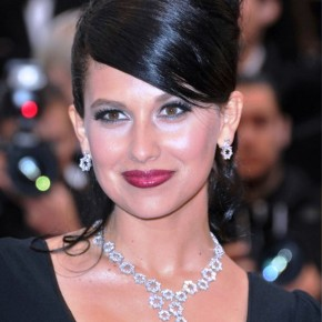 Hilaria Thomas Elegant Formal Black Updo With Side Bangs