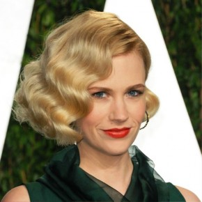 January Jones Short Curly Bob Hairstyle