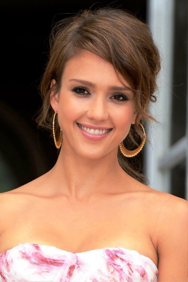 Jessica Alba Cute Soft Tousled Updo Hairstyle
