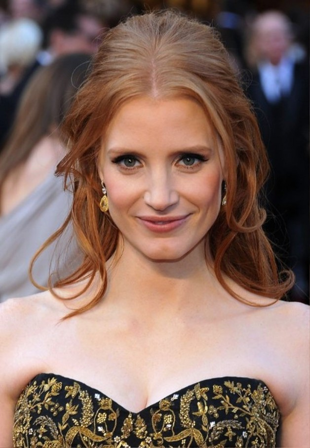 Swell Jessica Chastain Half Up Half Down Formal Hairstyles Hairstyles For Women Draintrainus