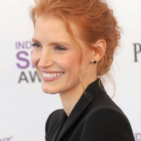 Jessica Chastain Red Casual Loose Bun Updo