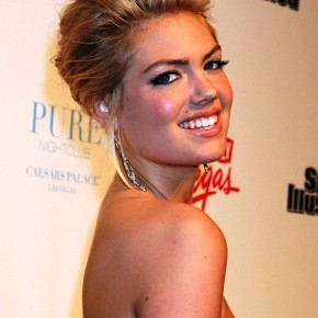 Kate Upton Updo With Voluminous Bangs