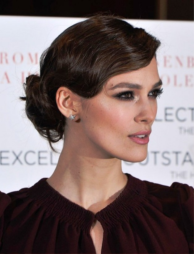 Keira Knightley Finger Wave Loose Bun Updo