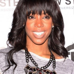 Kelly Rowland Long Black Hairstyle With Bangs