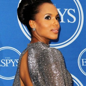 Kerry Washington Classic High Bun Updo